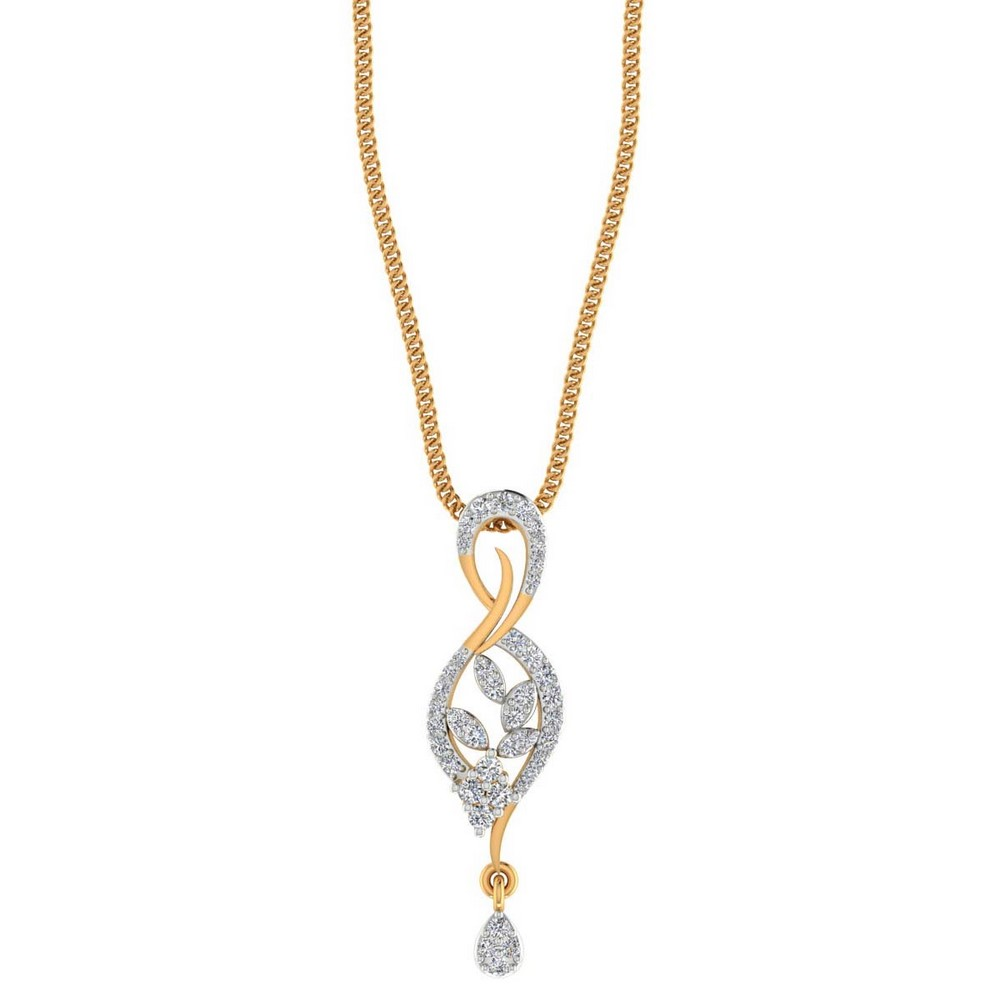14k Solid Gold 0.33 Cts SGL Certified Diamond Designer Pendant For Girl