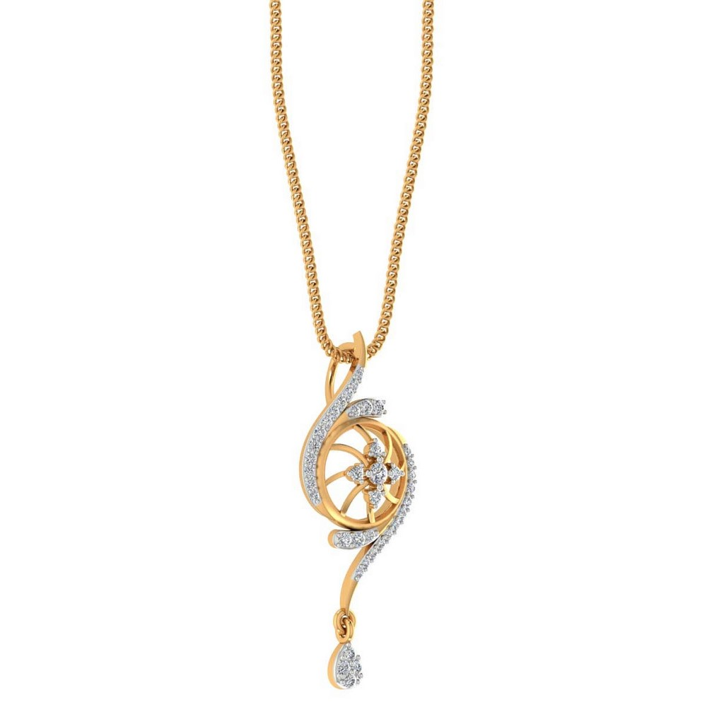 0.28 Cts SGL Certified Diamond 14k Solid Gold Designer Pendant For Gift