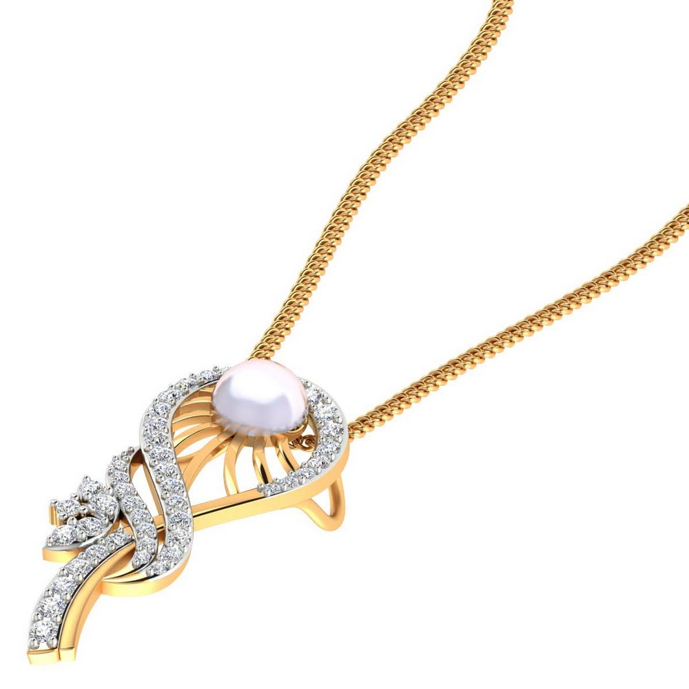 14k Solid Gold 0.36 Cts Certified Diamond Pearl Gemstone Pendant Girls
