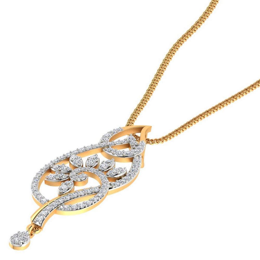 0.61 Cts Certified Diamond 14k Yellow Gold Lovely Pendant Jewelry Gift
