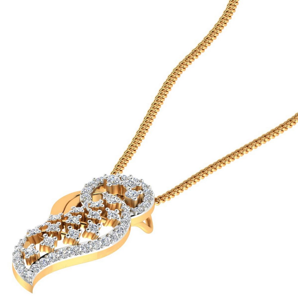 0.50 Cts SGL Certified Diamond 14k Solid Gold Designer Pendant For Gift