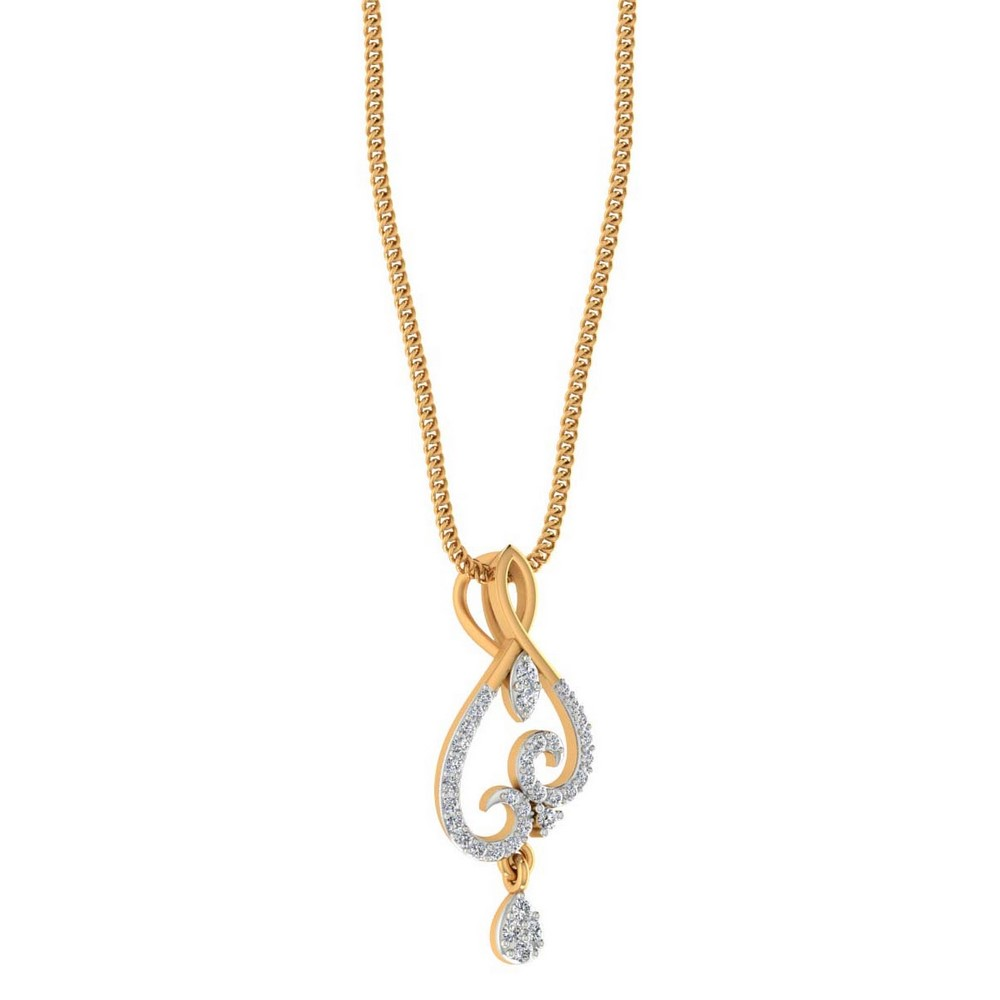 0.21 Cts Certified Natural Diamond 14k Yellow Gold Classic Designer Pendant Gift