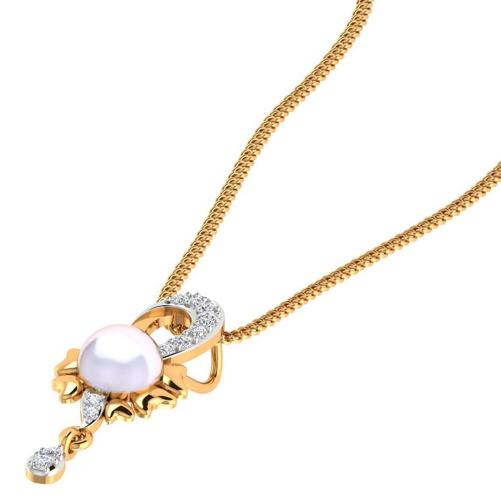 14k Real Gold 0.12Ct Natural Certified Diamond Pearl Gemstone Pendant