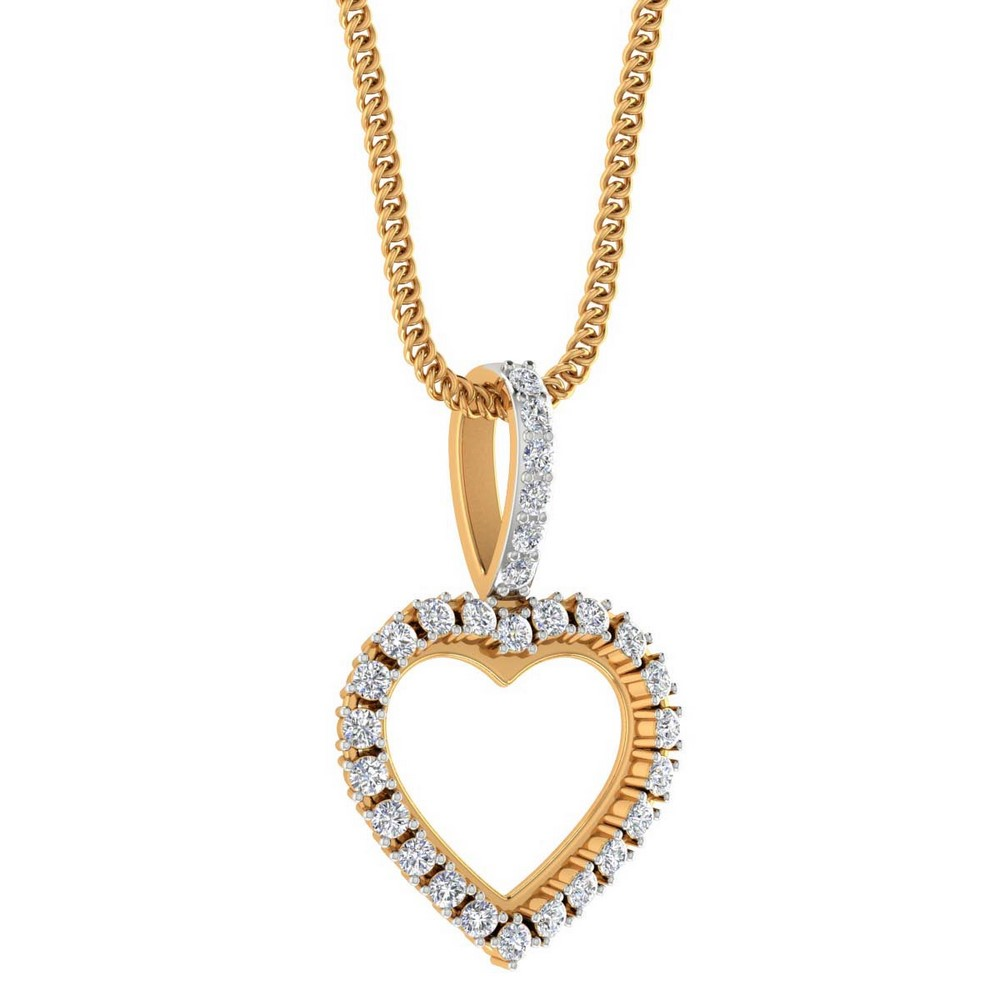 0.22Ct Natural Certified Diamond 14k Real Gold Heart Shape Pendant