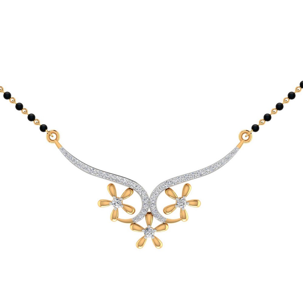 14k Hallmark Gold 0.43Ct Natural Certified Diamond Mangalsutra Pendant