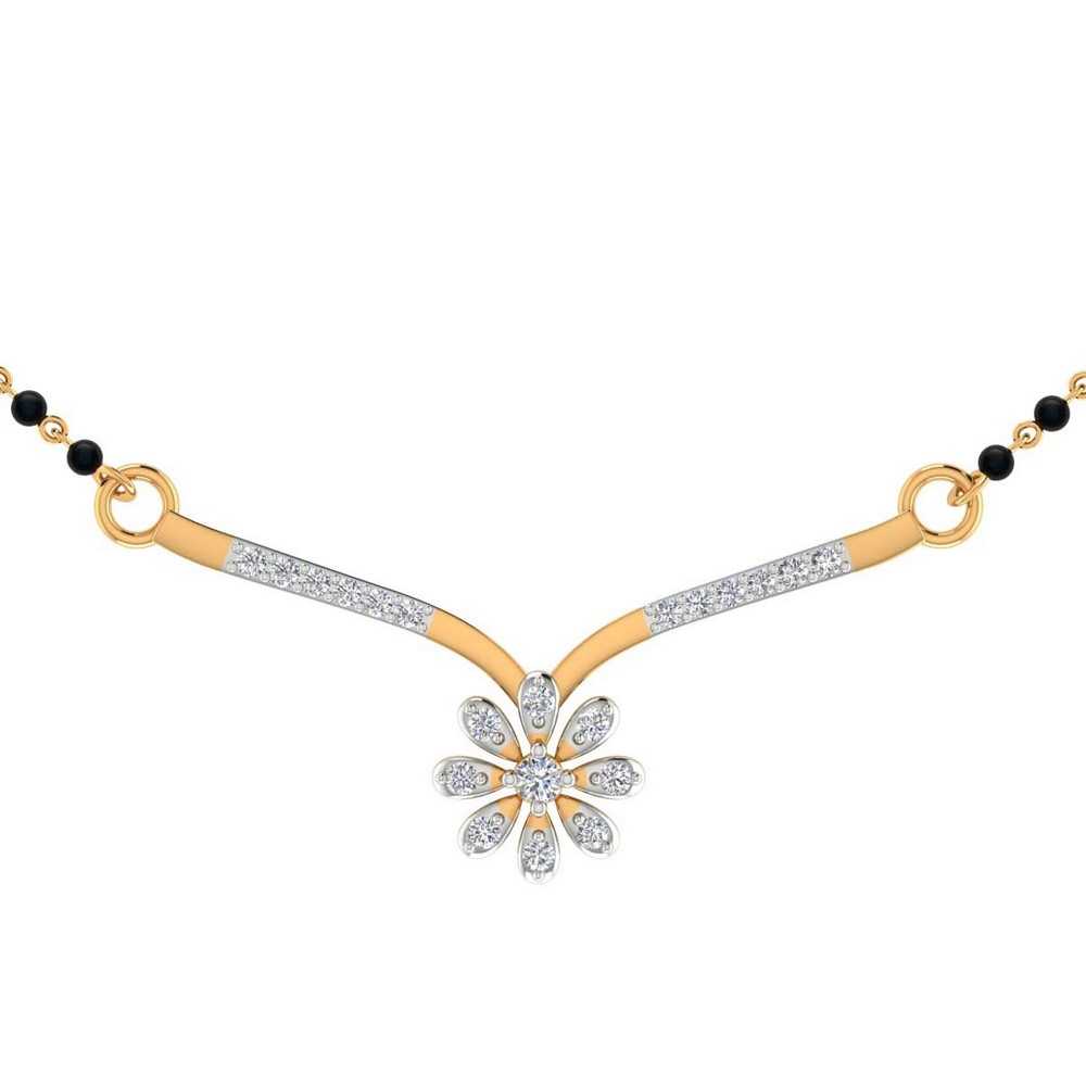 0.30Ct Certified 100% Genuine Diamond 14k Real Gold Mangalsutra Pendant