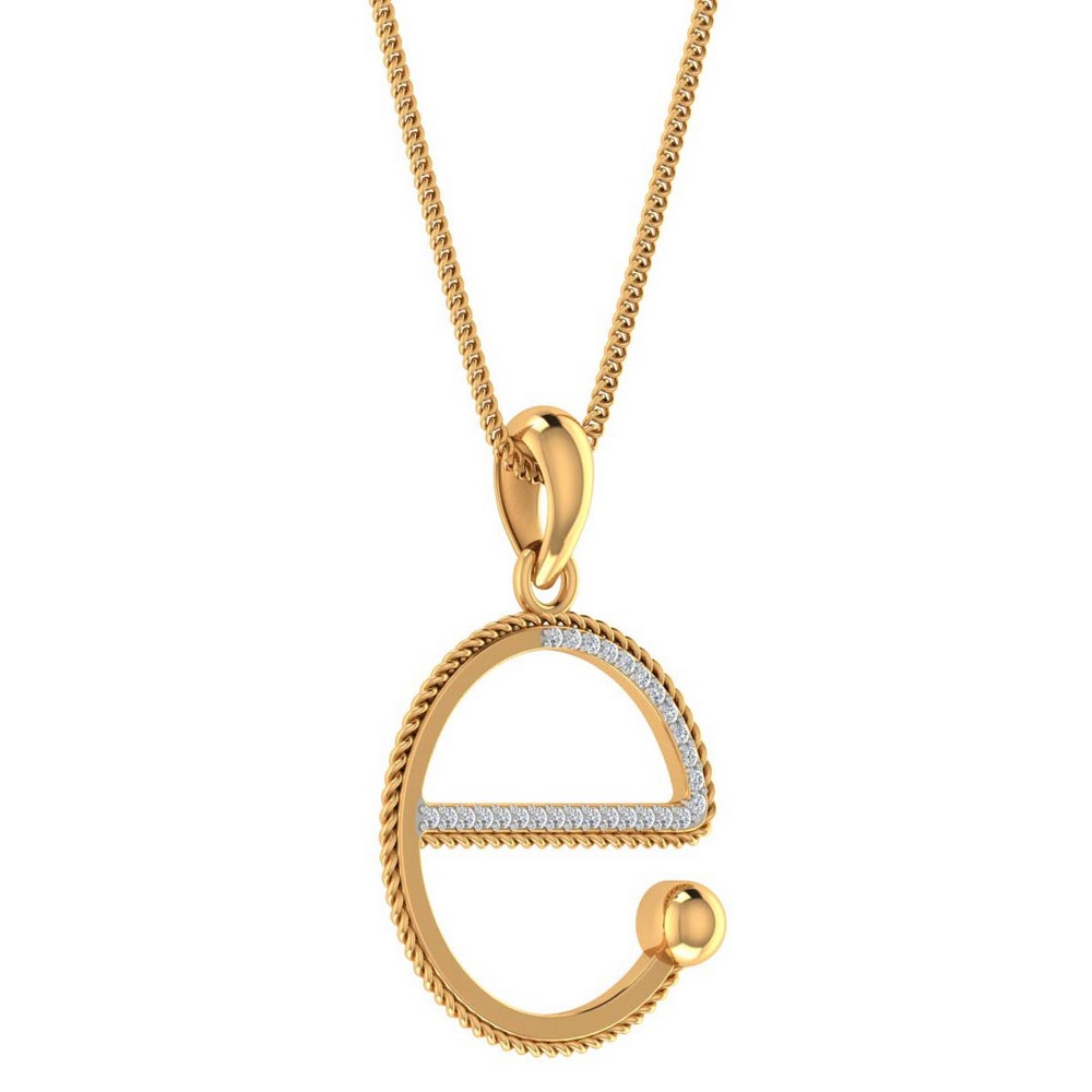 0.07 Cts Certified Diamond 14k Yellow Gold Lovely  Alphabetic Pendant