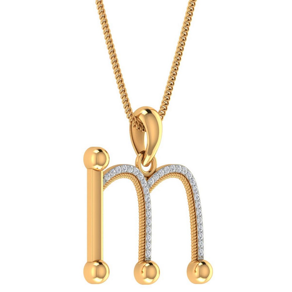 0.09Ct Certified Diamond 14k Real Gold Lovely  Alphabetic Pendant Gift