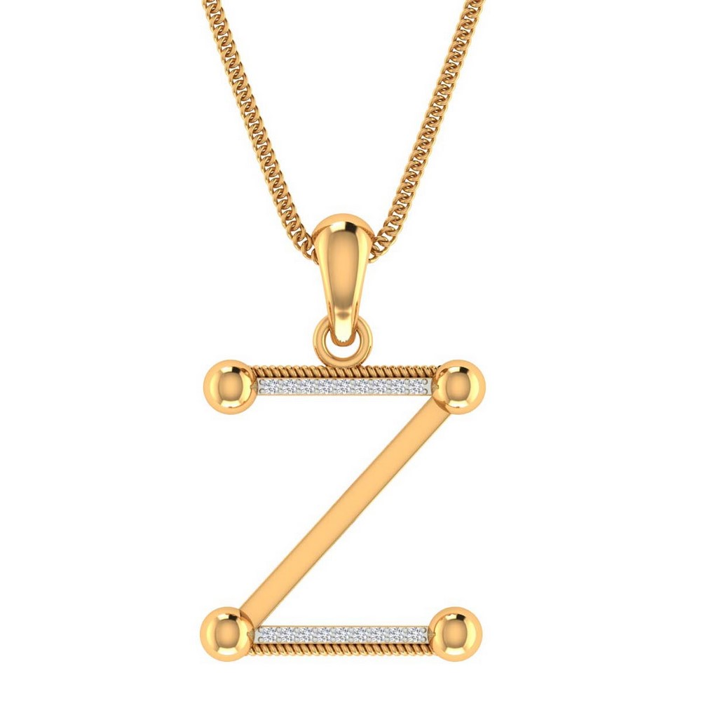 0.05 Cts Certified Diamond 14k Real Gold Unisex Office Wear Pendant