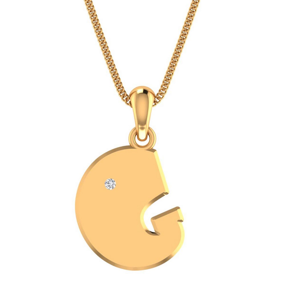 14k Solid Gold 0.02Ct Certified IJ/SI Diamond Unisex Pendant Gift