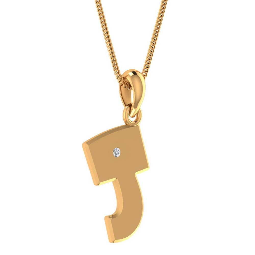 0.02 Cts Natural Certified Diamond 14k Yellow Gold Alphabetic Pendant