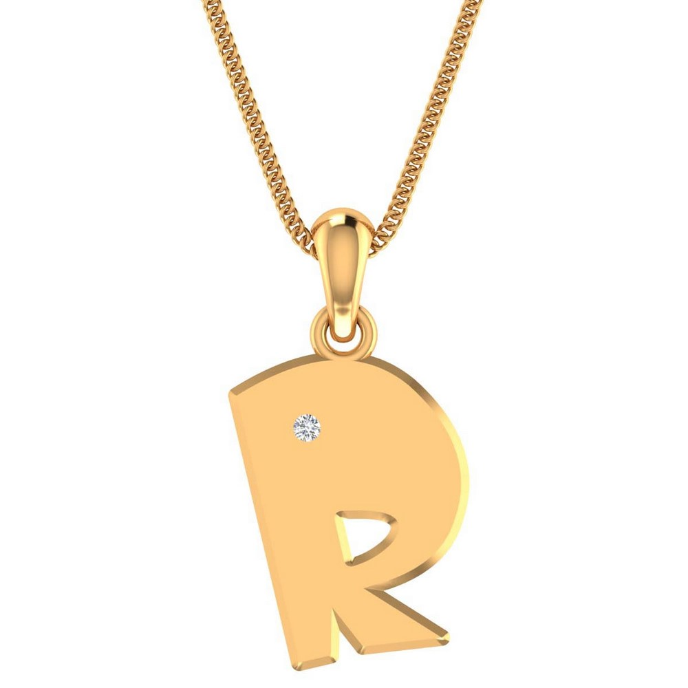 0.02Ct Certified IJ/SI Diamond 14k Hallmark Yellow Gold Unisex Pendant