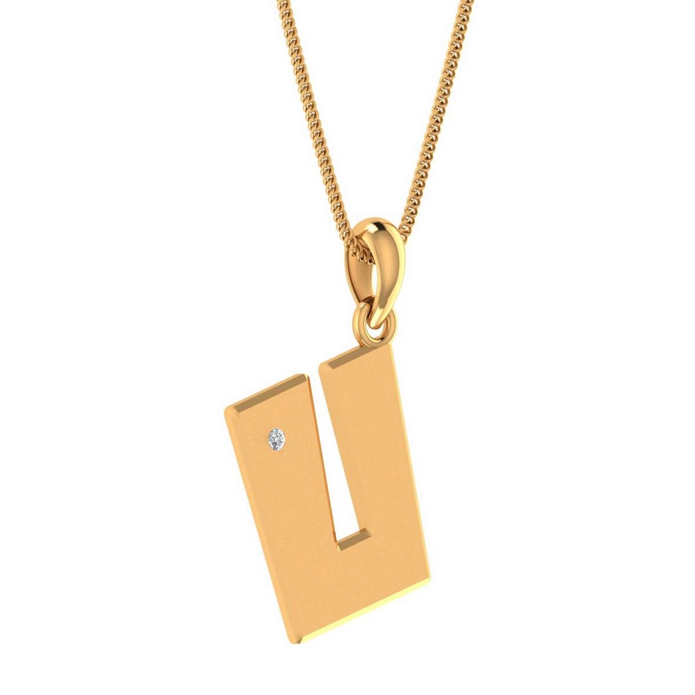 14k Yellow Gold 0.02Ct Certified Diamond Alphabetic Pendant Giftable