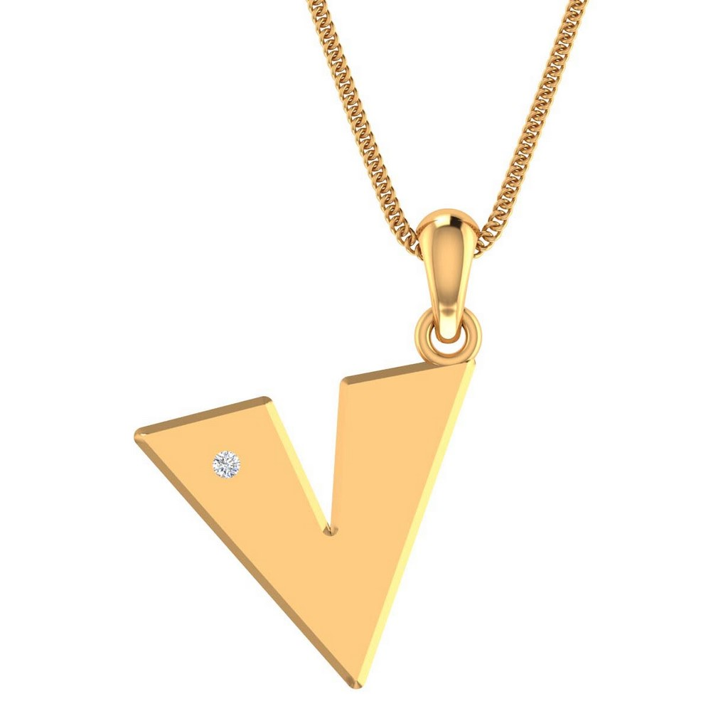 14k Hallmark Gold 0.02Ct Certified Diamond Unisex Everyday Wear Pendant