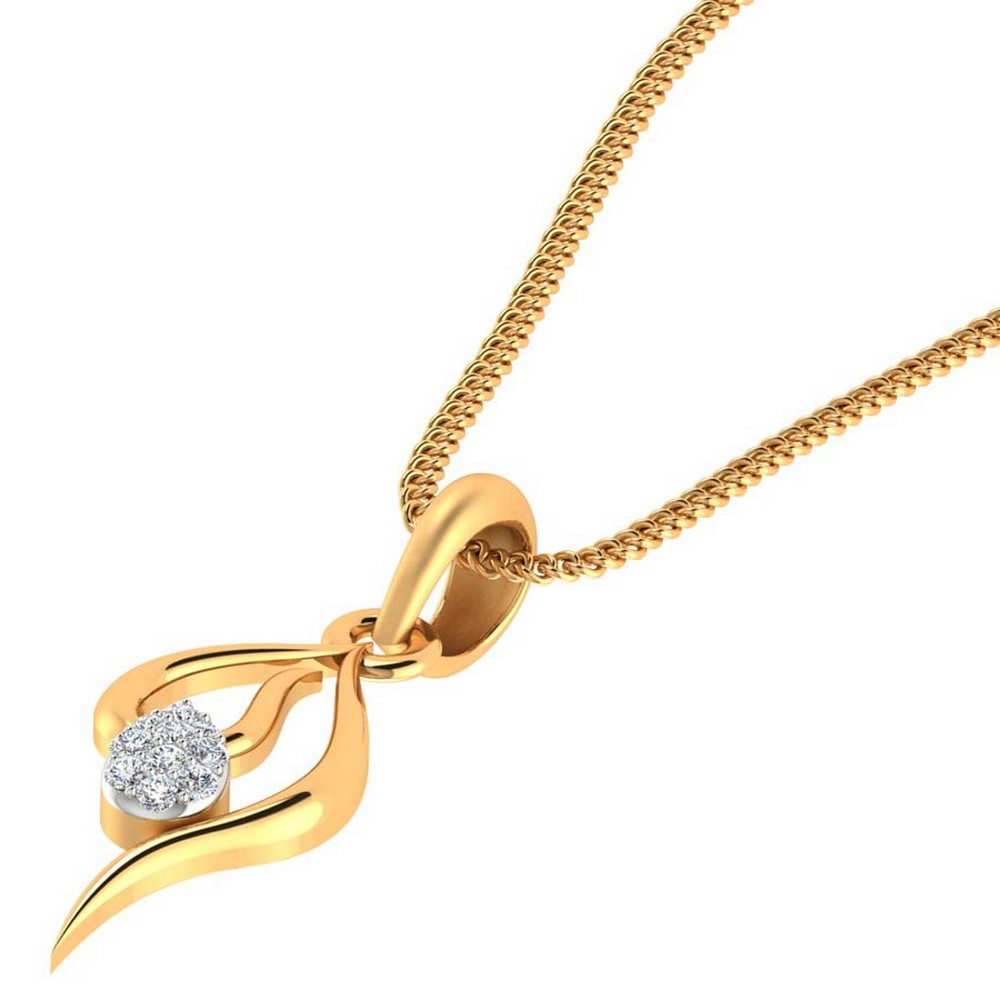 0.07 Cts Certified Genuine Diamond 14k Yellow Gold Jewelry Pendant Wedding Gift