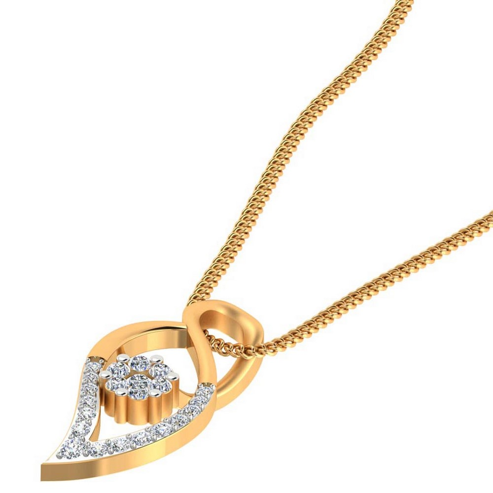 0.24Cts Certified IJ/SI Diamond 14k Yellow Gold Jewelry Fashionable Pendant Gift
