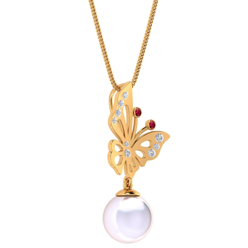 14k Yellow Gold 0.16 Cts Certified Diamond Natural Pearl Ruby Pendant Gift