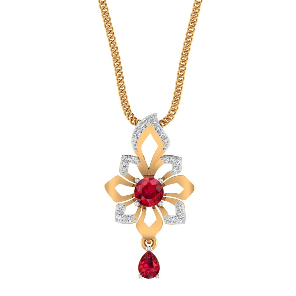 14k Yellow Gold 0.11 Cts Certified 100% Genuine Diamond Natural Ruby Pendant