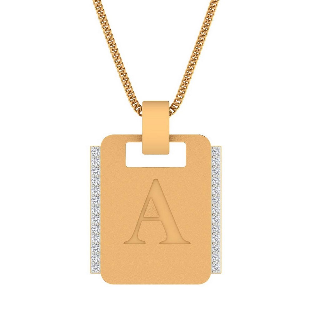 0.16 Cts Certified Genuine Diamond 14k Yellow Gold Alphabetical Pendant Giftable