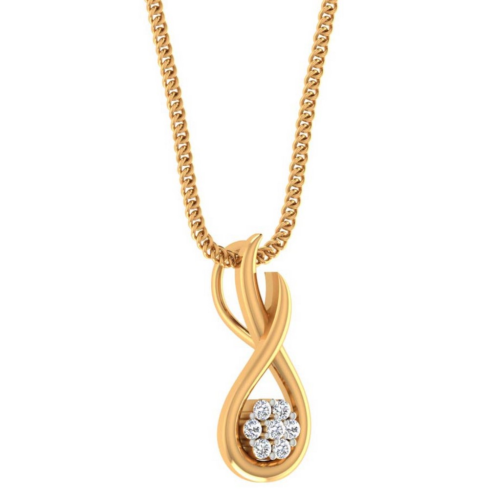 0.07 Cts Certified Genuine Diamond 14k Yellow Gold Jewelry Pendant Wedding