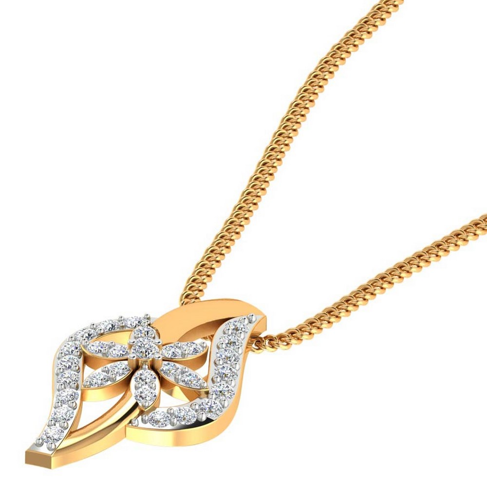 0.27 Cts Certified Diamond 14k Yellow Real Gold Jewelry Pendant Free Giftable