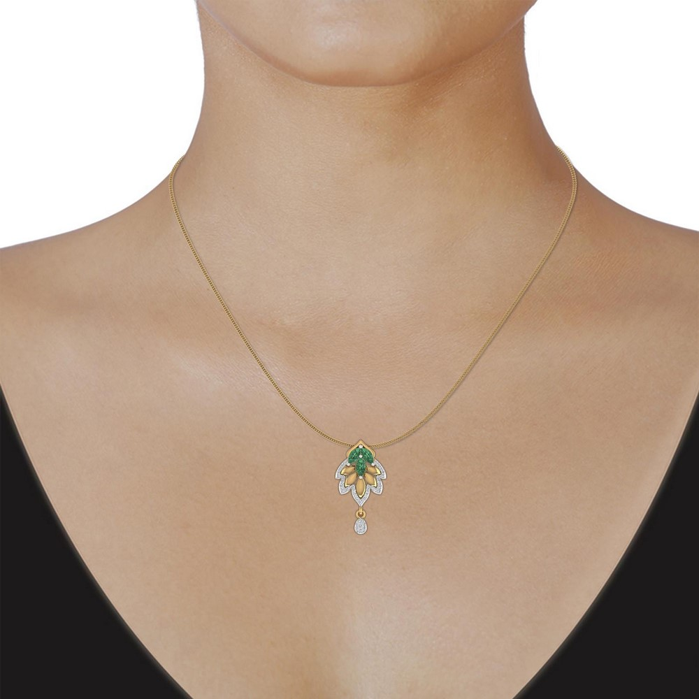 0.18 Cts Certified Genuine Diamond 14k Yellow Real Gold Natural Emerald Pendant