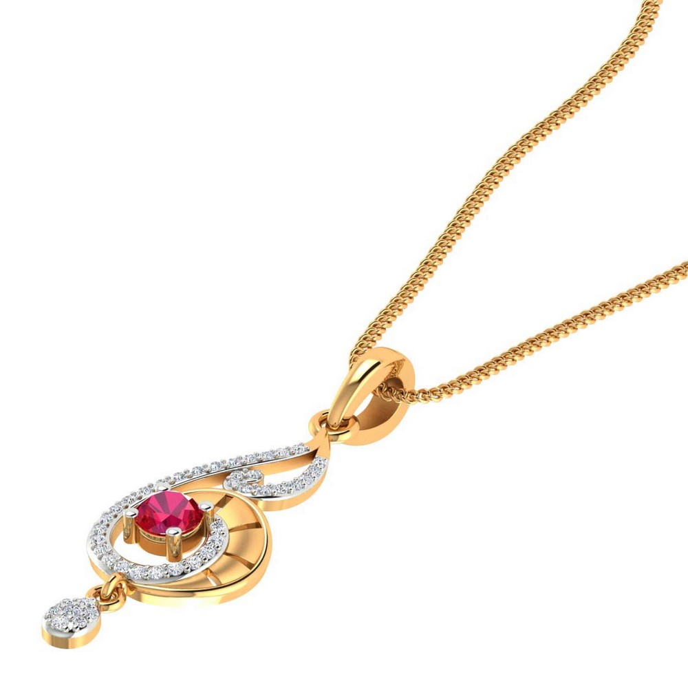 14k Yellow Gold 0.22 Cts Certified Natural Diamond Natural Ruby Pendant Party