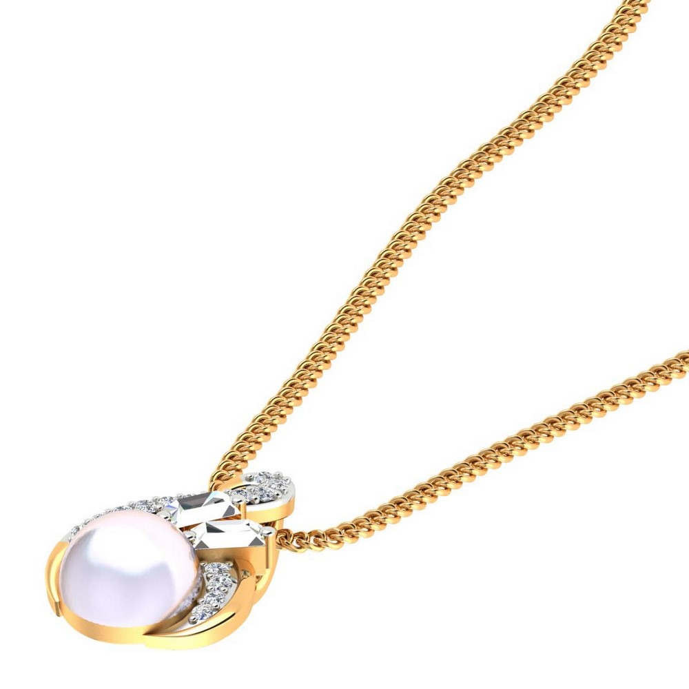 0.18 Cts Certified Natural Diamond 14k Yellow Gold Natural Pearl Pendant Gift