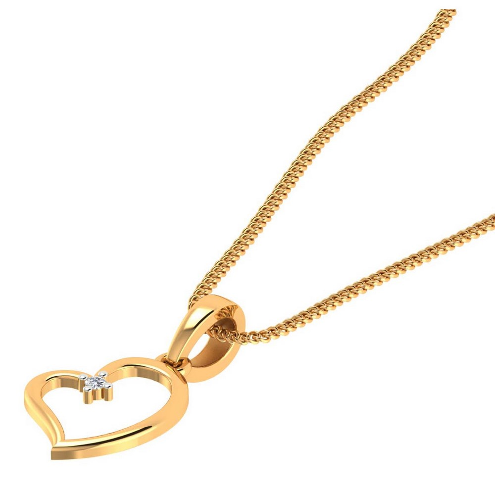 14k Yellow Gold 0.01 Cts Certified Diamond Heart Pendant Valentine Giftable