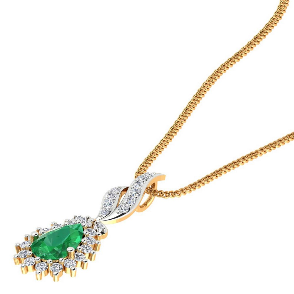0.37 Cts Certified Diamond 14k Yellow Solid Gold Natural Green Onyx Pendant