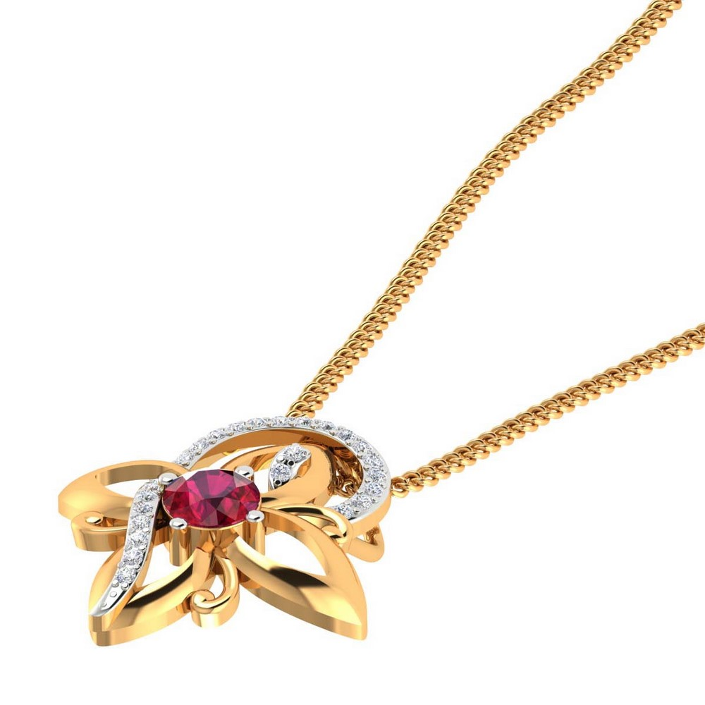 14k Yellow Gold 0.10 Cts Certified Natural Diamond Natural Ruby Pendant Party