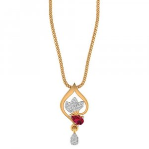 14K Yellow Gold With Natural Ruby And 0.11CTS Certified Diamond For Party Wear Jewellery
