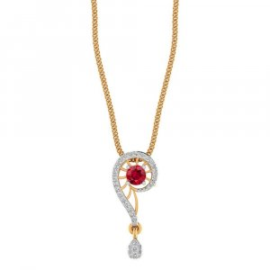 Handmade 14K Yellow Gold Pendant With Natural Gemstone And Certified Diamond Jewellery