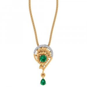 14K Yellow Gold pendant With Certified Diamond And Gemstone