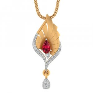 14K Yellow Gold With Certified Diamond And Natural Gemstone Pendant