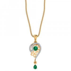 14K Yellow Gold Pendant For Weeding With Natural Gemstone And Certified Diamond