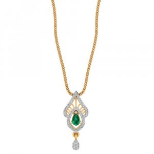 14K Yellow Gold pendant For Girls With Natural Emerald And Diamond