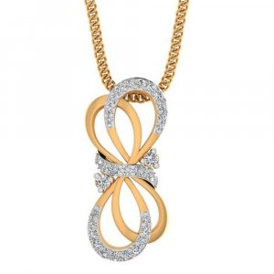 14K Yellow Gold Pendant In Infinity Shape With Certified Diamond