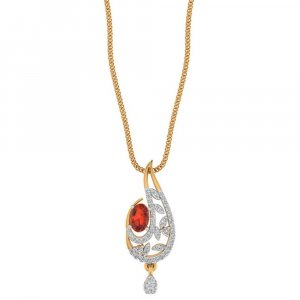 Yellow Gold Pendant For Girls With Gemstone And Certified Diamond
