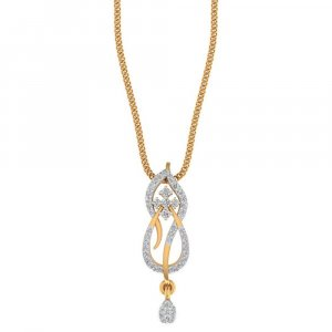 14K Yellow Gold Pendant With SI-IJ 0.27CTS Certified Diamond