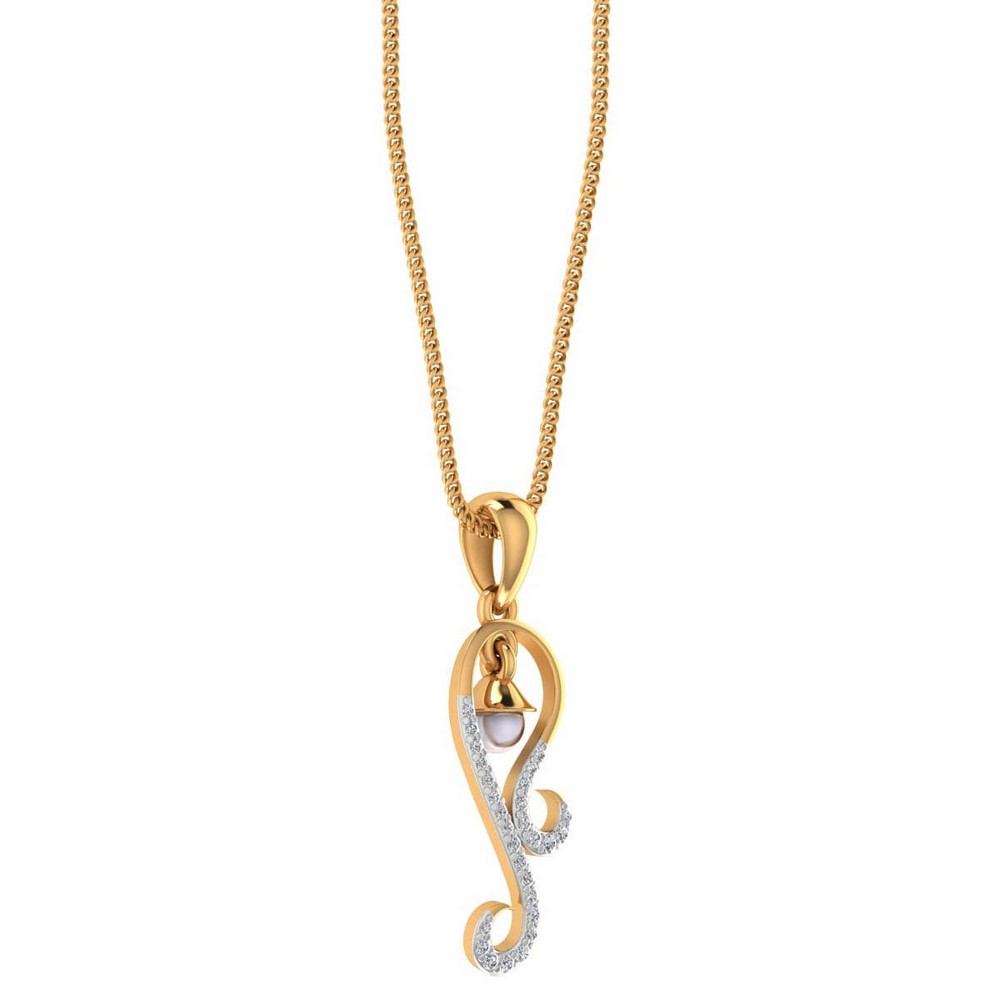 14K Yellow Gold Pendant With Pearl And Certified Diamond