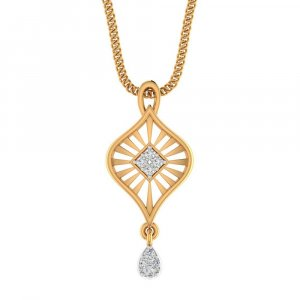 14K Yellow Gold Pendant With 0.07CTS Diamond For Gift