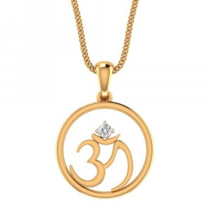 14k Yellow Gold Pendant In OM Shape With 0.06CTS Certified Diamond Jewellery