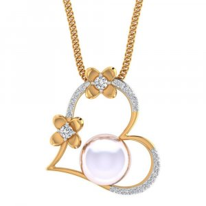 Hallmark 14K Yellow Gold Pendant In Heart Shape With Pearl And Certified Diamond Jewellery