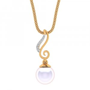 14K Yellow Gold Pendant With Pearl And Diamond