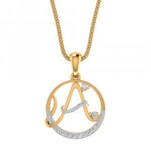Handmade 14K Gold Pendant In A Shape With certified Diamond