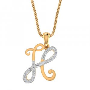 14k Yellow Gold H Pendant With 0.3CTS Diamond