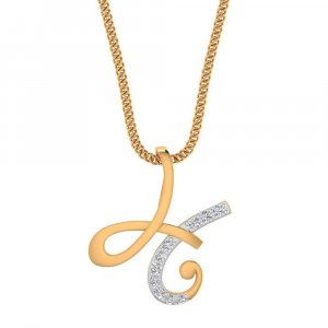 14K Yellow Gold pendant with SI-IJ diamond in H Shape