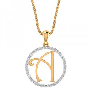 14K Yellow Gold Pendant in A Shape With Certified Diamond