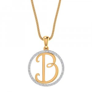14K Yellow Gold Pendant In B Shape
